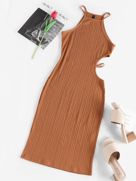 outfit ZAFUL Cutout Ribbed Slinky Dress - COFFEE L