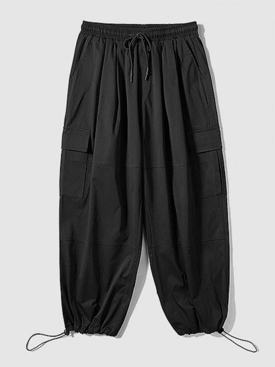 Einfarbige Cargo Hose mit Mehreren Taschen - Schwarz 2XL