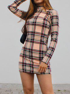 ZAFUL Plaid Mock Neck Mini Bodycon Dress - Light Coffee M