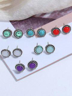 6 Pair Round Colorful Stone Stud Earrings - Multi-a