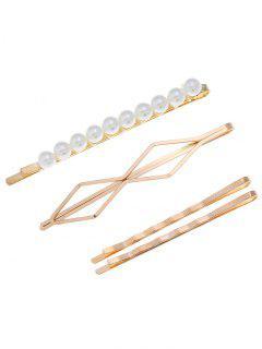 4 Piezas Peluca De Cabello Geométrico De Perlas De Imitación - Dorado