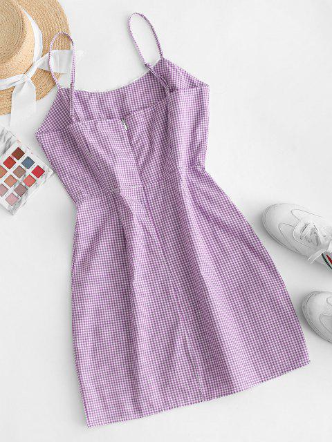 shops Picot Trim Gingham Cami Dress - PURPLE S Mobile