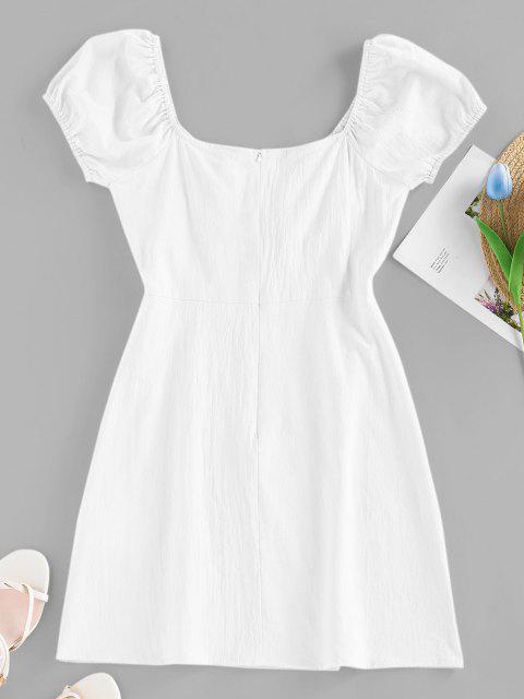 ZAFUL Mini Vestido Manga de Soplo y Moño - Blanco M Mobile