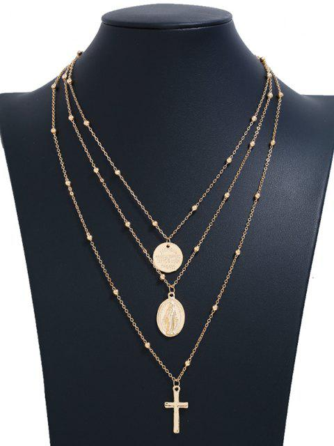 Kreuz Scheibe Perlen Geschichtete Anhänger Halskette - Golden  Mobile