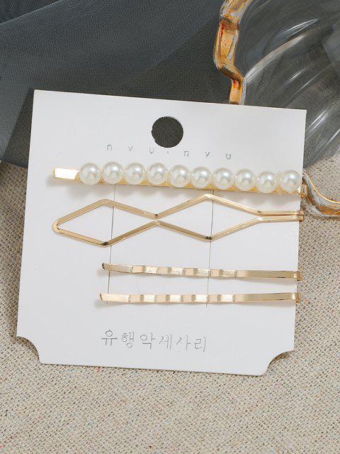 4 Stück Künstliche Perlen Geometrische Haarspangen - Golden  Mobile