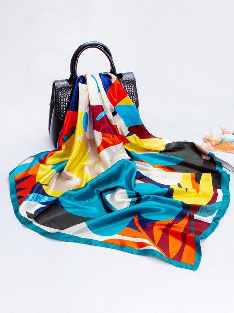 Quadratischer Seidiger Schal mit Blumenmuster - Dunkler Türkis  Mobile