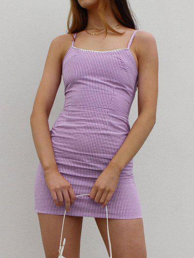 Picot Trim Gingham Cami Dress - Purple S