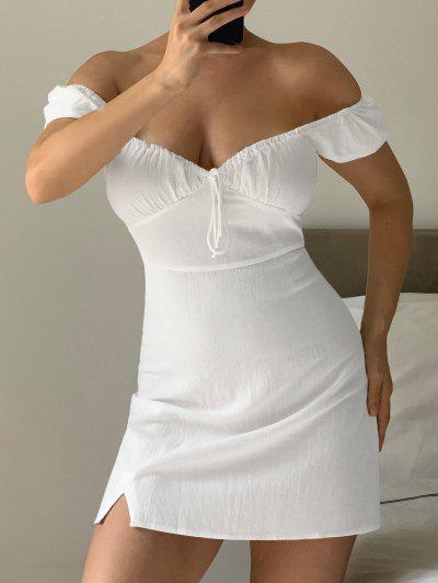 ZAFUL Mini Robe Fendue à Manches Bouffantes Avec Nœud Papillon - Blanc S