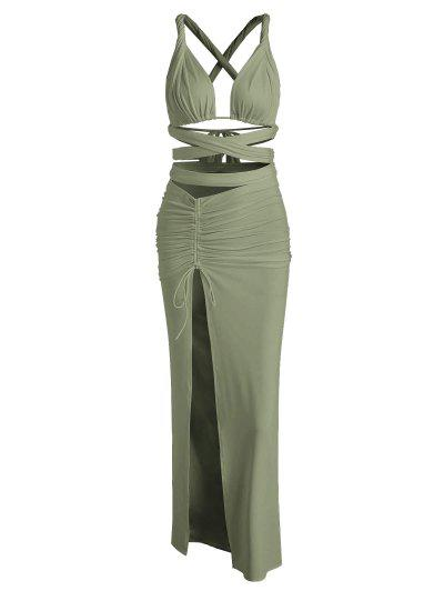 Vestito Puro Da Ballo A Due Pezzi In Tessuto Raggrinzito - Verde S