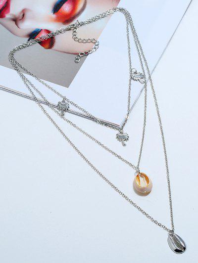 Conch Palme Baum Geschichtete Anhänger Halskette - Silber