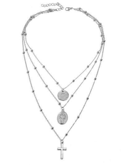 Kreuz Scheibe Perlen Geschichtete Anhänger Halskette - Silber