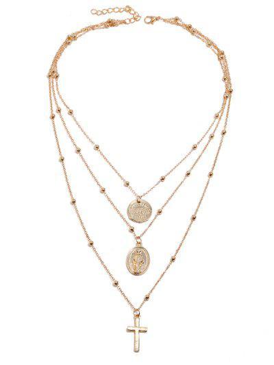 Cross Disc Beaded Layered Pendant Necklace - Golden