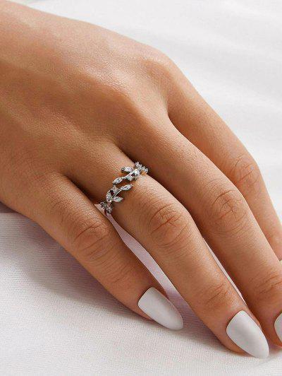 Anello Con Motivo A Foglia E Diamante Artificiale - Argento Ridimensionabile