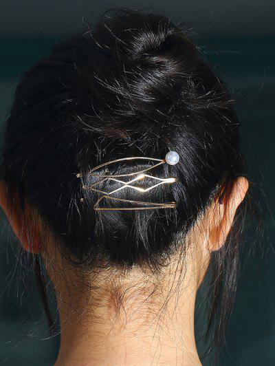 3 Pcs Faux Pearl Geometric Hair Pins - Golden