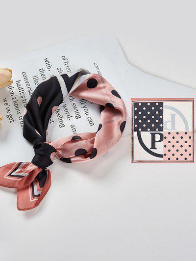 Colorblock Polka Dot Print Square Silky Scarf - Khaki Rose