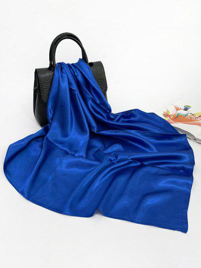Solid Color Square Lustrous Silky Scarf - Ocean Blue
