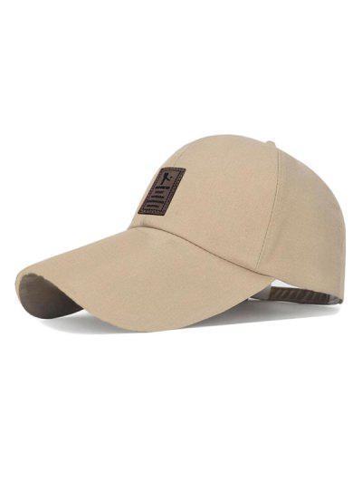 Patch Sun Protection Canvas Baseball Cap - Light Khaki