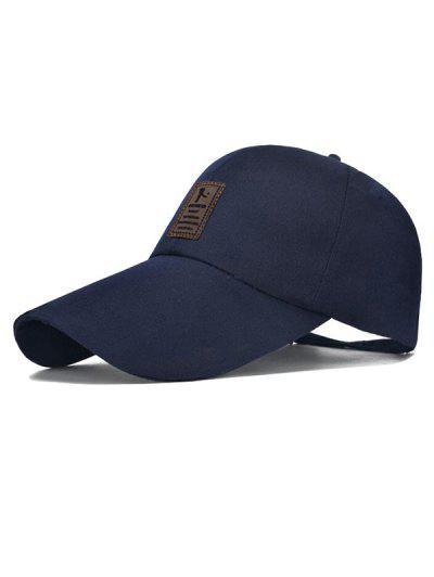 Casquette De Baseball Protection Solaire Patch En Canevas - Bleu Lapis