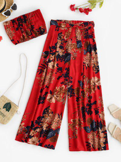 Two Piece Floral Bandeau Top And Palazzo Pants Set - Red S