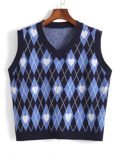 ZAFUL Jersey De Cuello En V Y Corazón De Color Sólido - Azul 3xl