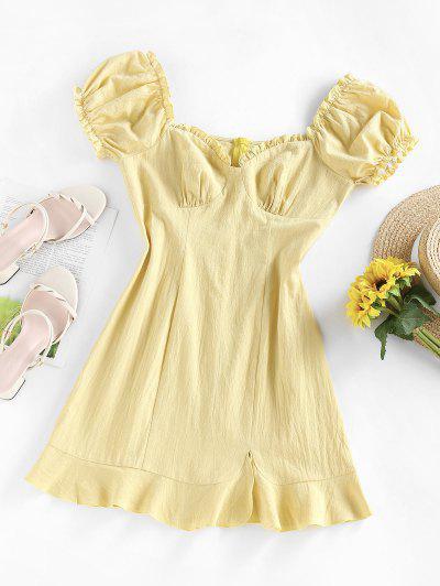 ZAFUL Ruffle Puff Sleeve Sweetheart Slit Dress - Light Yellow Xl