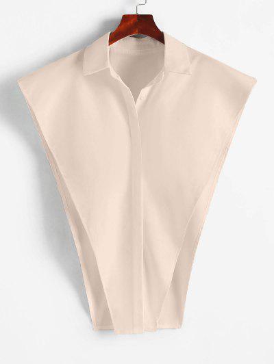 Button Up Cape Shirt - Light Coffee S