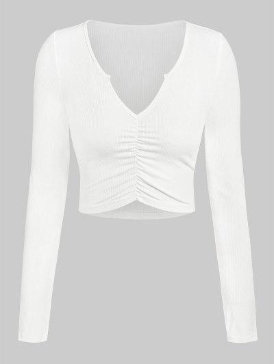 ZAFUL Camiseta Corta Acanalada Con Muesca - Blanco L