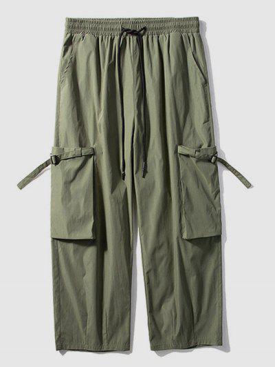 Solid Color Cargo Wide Leg Pants - Army Green L