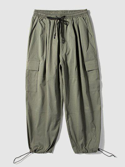 Solid Color Multi-pocket Cargo Pants - Army Green 4xl