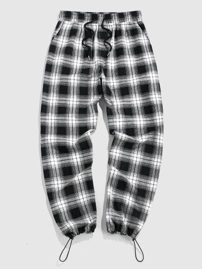 ZAFUL Plaid Pattern Pants - Black Xl