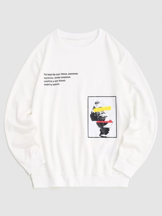 Sculpture Slogan Graphic Sweatshirt - أبيض L