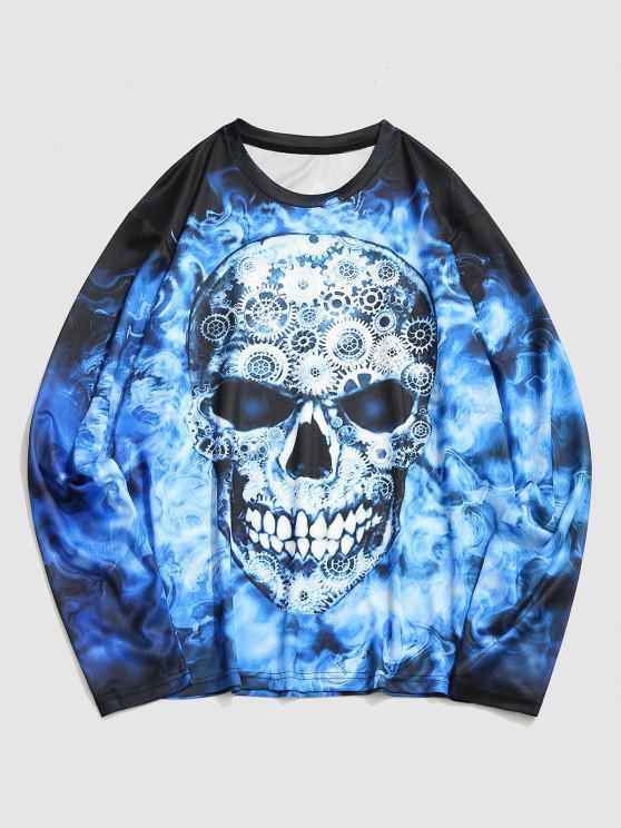 Gears Skull Print Long Sleeve T-shirt - متعدد 3XL