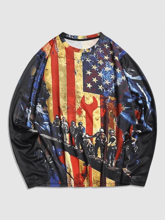 Long Sleeve American Flag Print T-shirt - متعدد XL