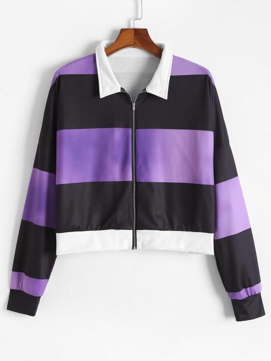 chic ZAFUL Plus Size Colorblock Striped Zip Up Sweatshirt - CONCORD 5XL