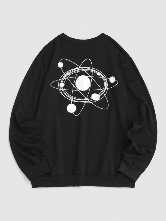Galaxy Planet Drawing Graphic Sweatshirt - أسود L