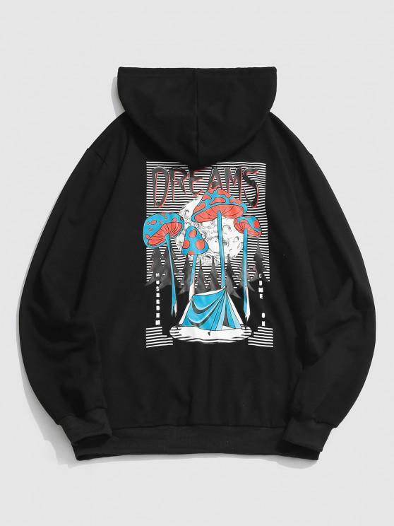 Dreams Mushroom Striped Graphic Hoodie - أسود L