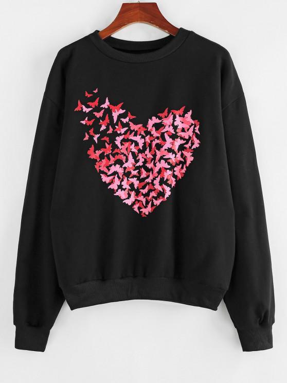 ZAFUL Oversized Heart Butterfly Graphic Sweatshirt - أسود S