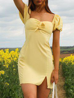 ZAFUL Knot Slit Milkmaid Dress - Lemon Chiffon S