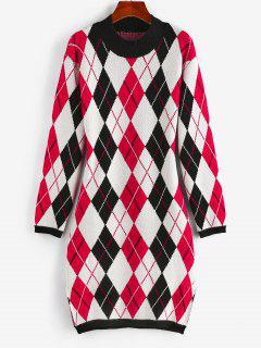 ZAFUL Argyle Mock Neck Slit Sweater Dress - Multi S