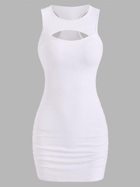 Racerback Minikleid mit Geripptem Ausschnitt - Weiß M Mobile