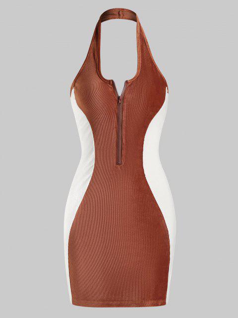 latest Halter Ribbed Velvet Half-zip Bicolor Bodycon Dress - COFFEE S Mobile