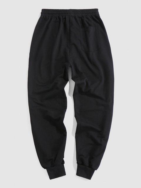 new ZAFUL Cartoon Face Print Drawstring Sweatpants - BLACK XXL Mobile