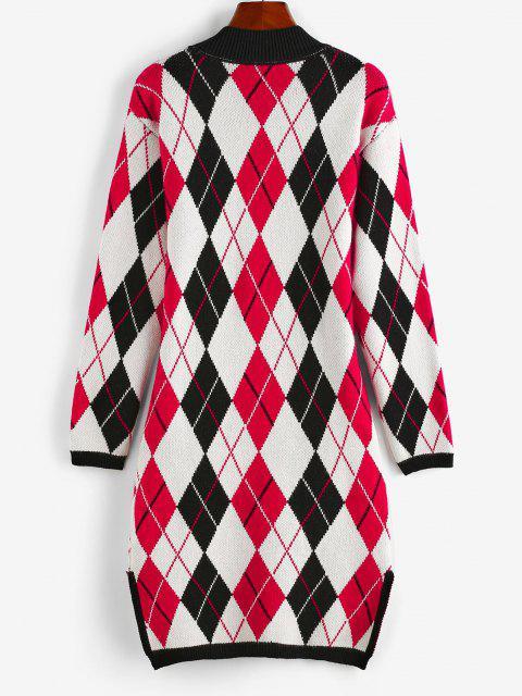 women's ZAFUL Argyle Mock Neck Slit Sweater Dress - MULTI S Mobile