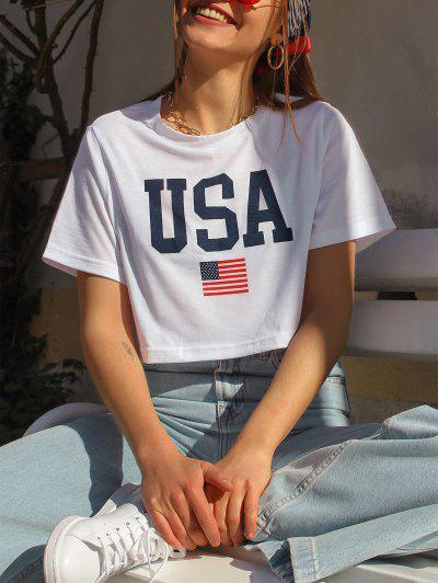 ZAFUL Patriotic American Flag USA Graphic Crop T-shirt - White M