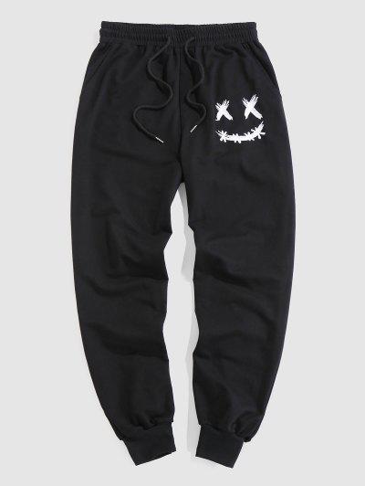 ZAFUL Pantalones Deportivos Con Estampado De Cara De Dibujos Animados - Negro L