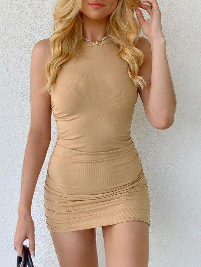 Ruched Ribbed Mini Bodycon Dress - Light Coffee S