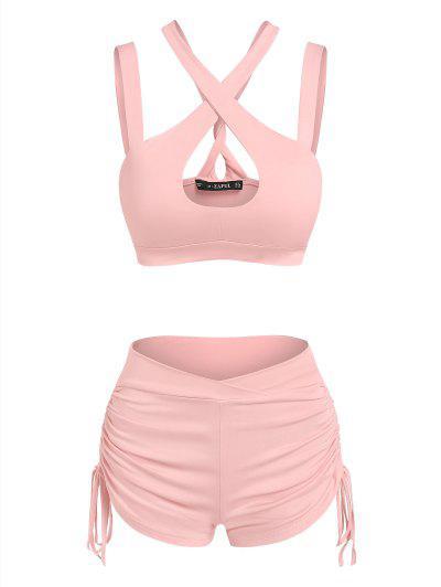 ZAFUL Cutout Cross Cinched Two Piece Shorts Set - Light Pink M