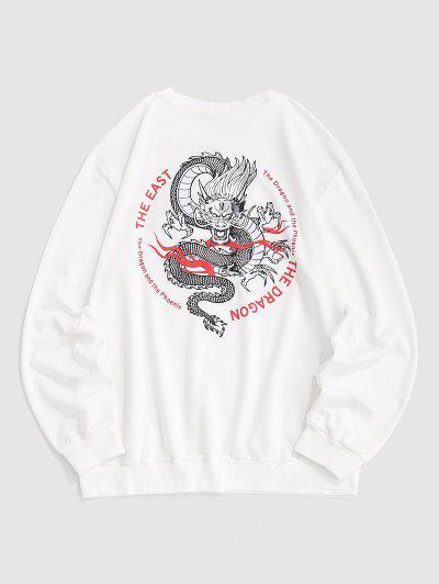 Chinesisches Drache Buchstabe Grafik Sweatshirt - Weiß S
