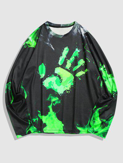T-shirt Empreinte De Main à Manches Longues - Vert M