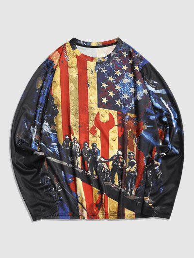 Long Sleeve American Flag Print T-shirt - Multi Xl